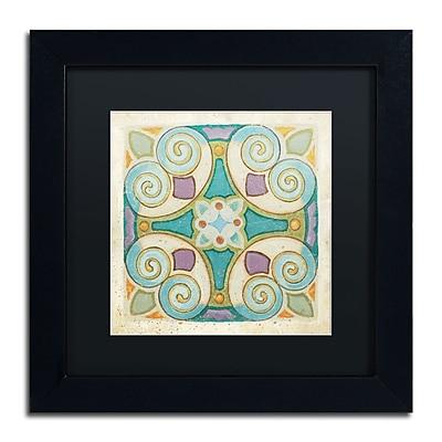 "Trademark Daphne Brissonnet ""Birds Garden Tile I"" Art, Black Matte W/Black Frame, 11"" x 11"""