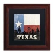 "Trademark Moira Hershey Black Matte With Wood Frame ""Texas"" Arts"
