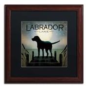 """Trademark Ryan Fowler """"Moonrise Black Dog Labrador Lake"""" Art, Black Matte W/Wood Frame, 16"""" x 16"""""""