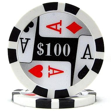 Trademark Poker™ 11.5g 4 Aces Premium $100 Poker Chips, Black, 100/Set