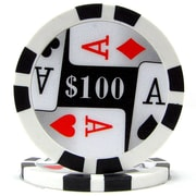 Trademark Poker™ 11.5g 4 Aces Premium $100 Poker Chips, Black, 50/Set