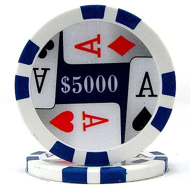 Trademark Poker™ 11.5g 4 Aces Premium $5000 Poker Chips, Blue, 50/Set