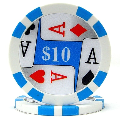 Trademark Poker™ 11.5g 4 Aces Premium $10 Poker Chips, Light Blue, 50/Set