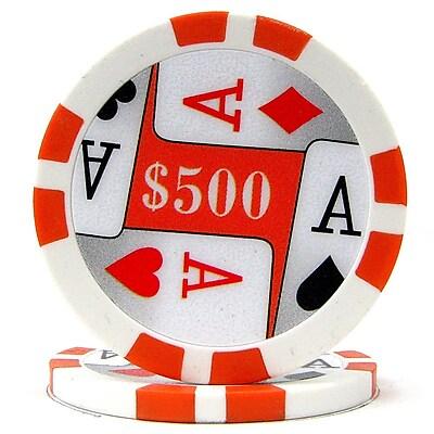Trademark Poker™ 11.5g 4 Aces Premium $500 Poker Chips, Orange, 100/Set