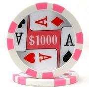 Trademark Poker™ 11.5g 4 Aces Premium $1000 Poker Chips, Pink, 100/Set