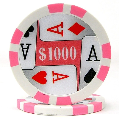 Trademark Poker™ 11.5g 4 Aces Premium $1000 Poker Chips, Pink, 100/Set