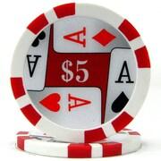 Trademark Poker™ 11.5g 4 Aces Premium $5 Poker Chips, Red, 50/Set