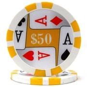Trademark Poker™ 11.5g 4 Aces Premium $50 Poker Chips, Yellow, 50/Set