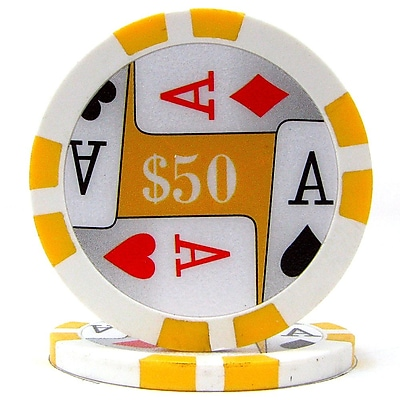 Trademark Poker™ 11.5g 4 Aces Premium $50 Poker Chips, Yellow, 50/Set
