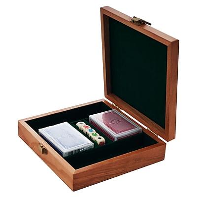 Trademark Poker 100 Chips Oak Poker Chip Case, Black 1449354