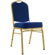 "Trademark Poker™ 23 5/8"" x 17 1/2"" x 36 1/2"" Deluxe Padded Metal Poker Chair, Blue Upholstery"