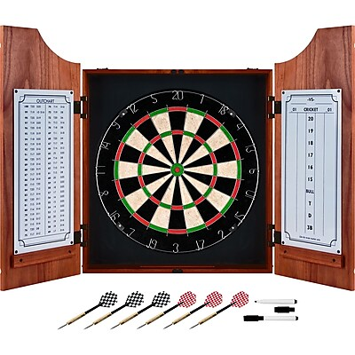 Trademark Games™ Pro Style Board/Darts Beveled Wood Dart Cabinet Set