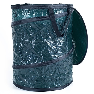 Trademark Texsport® Polyethylene Collapsible Utility Bin Garbage Can With Lid, Green