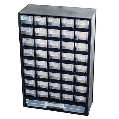 Trademark Stalwart™ Plastic 41-Compartment Hardware Storage Box, Black