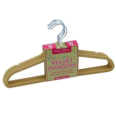 Trademark Karen Rhodes Collection™ Set of 6 Kids Velvet Hangers, Ivory
