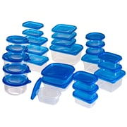 54 Piece Plastic Food Container Set With Air Tight Lids, Blue/Clear