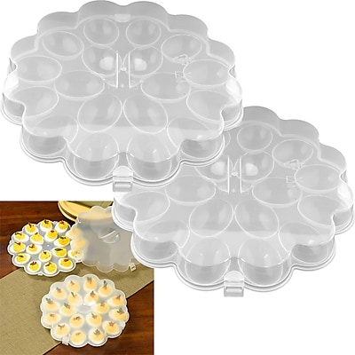 Trademark Chef Buddy™ Set of 2 Deviled Egg Trays With Snap On Lids, 36 Eggs
