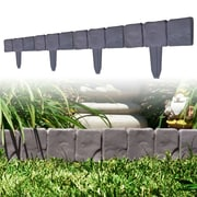"Trademark Pure Garden™ 10 Piece Cobblestone Flower Bed Border; Gray, 3/4"" x 10"" x 9"""