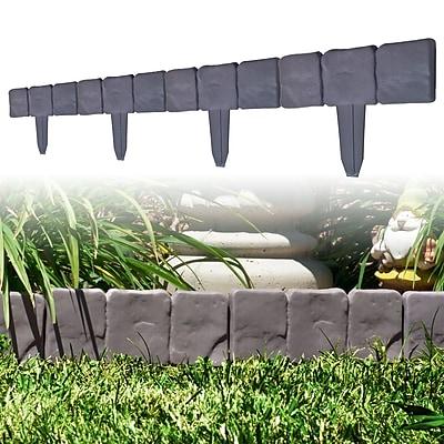 Trademark Pure Garden™ 10 Piece Cobblestone Flower Bed Border; Gray, 3/4