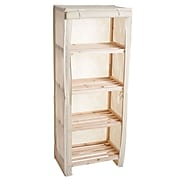 Trademark Lavish Home 4 Tier Blonde Wood Shelving Rack With Removable Cover, Chinese Fir Wood