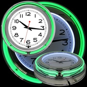 "Trademark 14"" Double Ring Neon Clock, Green Outer/White Inner"