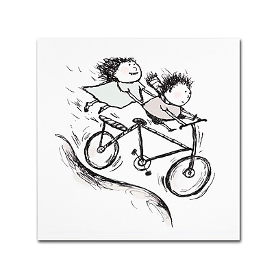 "Trademark Carla Martell ""Bike Kids"" Gallery-Wrapped Canvas Art, 14"" x 14"""
