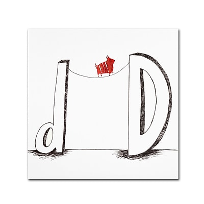 "Trademark Carla Martell ""D is for Dog"" Gallery-Wrapped Canvas Art, 18"" x 18"""