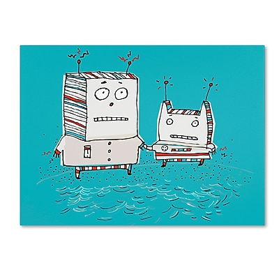 "Trademark Carla Martell ""Robots on Beach"" Gallery-Wrapped Canvas Art, 18"" x 24"""