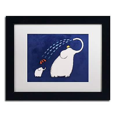"Trademark Carla Martell ""Umbrella Elephant"" Art, White Matte W/Black Frame, 11"" x 14"""