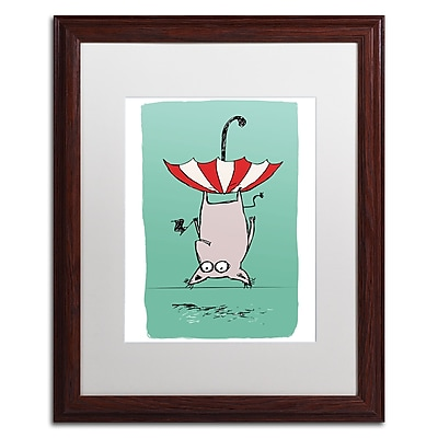 "Trademark Carla Martell ""Upside Down Animal"" Art, White Matte W/Wood Frame, 16"" x 20"""