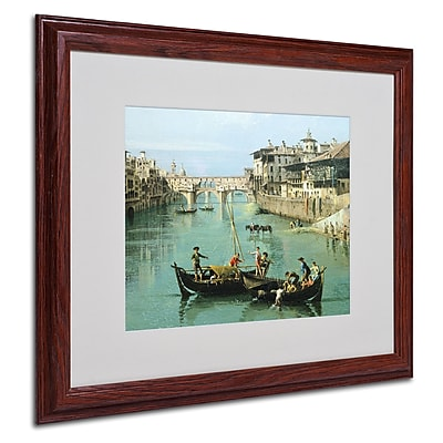 "Trademark Canaletto ""Arno River and Ponte Vecchio"" Art, White Matte With wood Frame, 16"" x 20"""