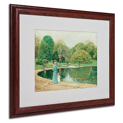 "Trademark Childe Hassam ""Central Park"" Art, White Matte With Wood Frame, 16"" x 20"""