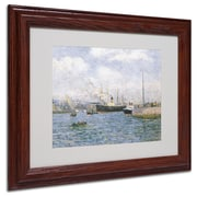 "Trademark Maxime Maufra White Matte W/Wood Frame ""Departure from Havre 1905"" Arts"