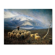 "Trademark Achilles Tominetti ""Mountain Landscape with Rain"" Gallery-Wrapped Canvas Art, 14"" x 19"""