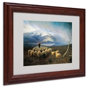 """Trademark Achilles Tominetti """"Mountain Landscape"""" Art, White Matte With wood Frame, 11"""" x 14"""""""