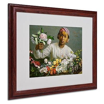 "Trademark Jean Frederic Bazille ""Woman with Peonies"" Art, White Matte With Wood Frame, 16"" x 20"""