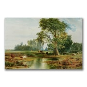 """Trademark Thomas Moran """"Cattle Watering"""" Gallery-Wrapped Canvas Art, 22"""" x 32"""""""