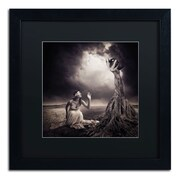 "Trademark Erik Brede ""Is There Anybody Out There"" Art, Black Matte W/Black Frame, 16"" x 16"""