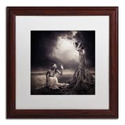 "Trademark Erik Brede ""Is There Anybody Out There"" Art, White Matte W/Wood Frame, 16"" x 16"""