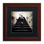 "Trademark Erik Brede ""Waiting for the Green Light"" Art, Black Matte W/Wood Frame, 11"" x 11"""