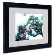 "Trademark Kurt Shaffer ""Holly in the Snow"" Art, White Matte With Black Frame, 11"" x 14"""