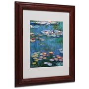"Trademark Claude Monet ""Waterlilies Classic"" Art, White Matte With Wood Frame, 11"" x 14"""