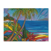 """Trademark Manor Shadian """"Blue Sea with 2 Boats"""" Gallery-Wrapped Canvas Arts"""