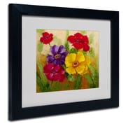 "Trademark Rio ""Flowers"" Art, White Matte With Black Frame, 11"" x 14"""