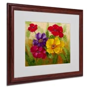 "Trademark Rio ""Flowers"" Art, White Matte With Wood Frame, 16"" x 20"""