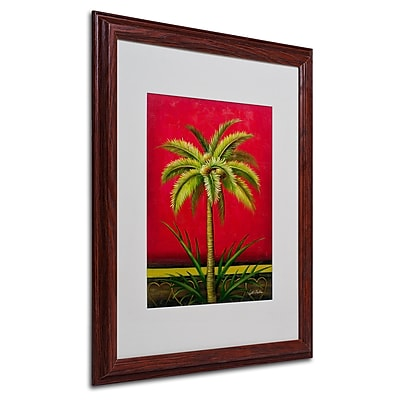 "Trademark Victor Giton ""Tropical Palm I"" Art, White Matte With Wood Frame, 16"" x 20"""