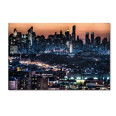 """Trademark David Ayash """"Midtown and The Queensborough Bridge"""" Gallery-Wrapped Canvas Art, 12"""" x 19"""""""