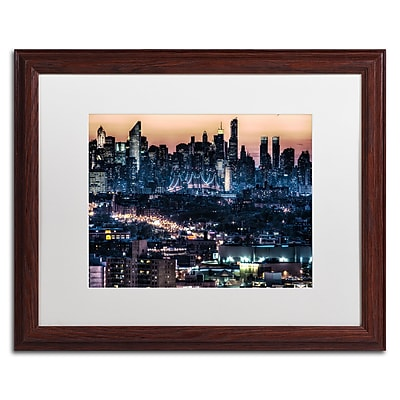 "Trademark David Ayash ""Midtown and The Queensborough..."" Art, White Matte With Wood Frame, 16"" x 20"""