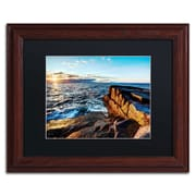 "Trademark David Ayash ""Sunrise Over the Atlantic in Maine"" Art, Black Matte W/Wood Frame, 11"" x 14"""