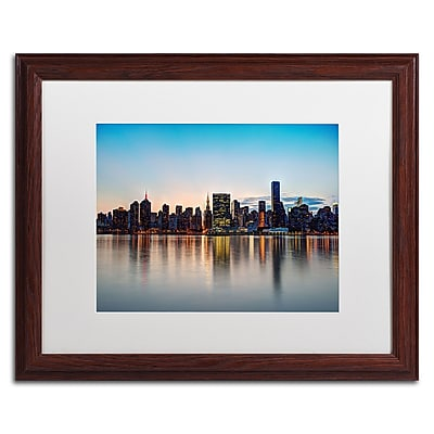 "Trademark David Ayash ""Midtown NYC Over the East River-I"" Art, White Matte W/Wood Frame, 16"" x 20"""